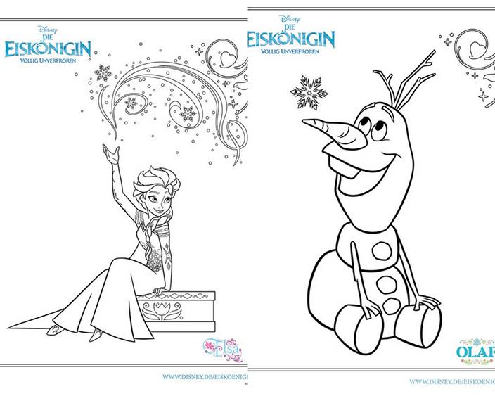 Disney-Figuren malen, Olaf, Elsa, Eiskönigin, Malvorlage, Frozen