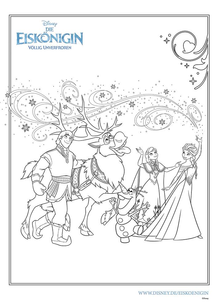 Disney-Figuren malen, Olaf, Elsa, Anna, Sven, Kristoff, Eiskönigin, Malvorlage, Frozen