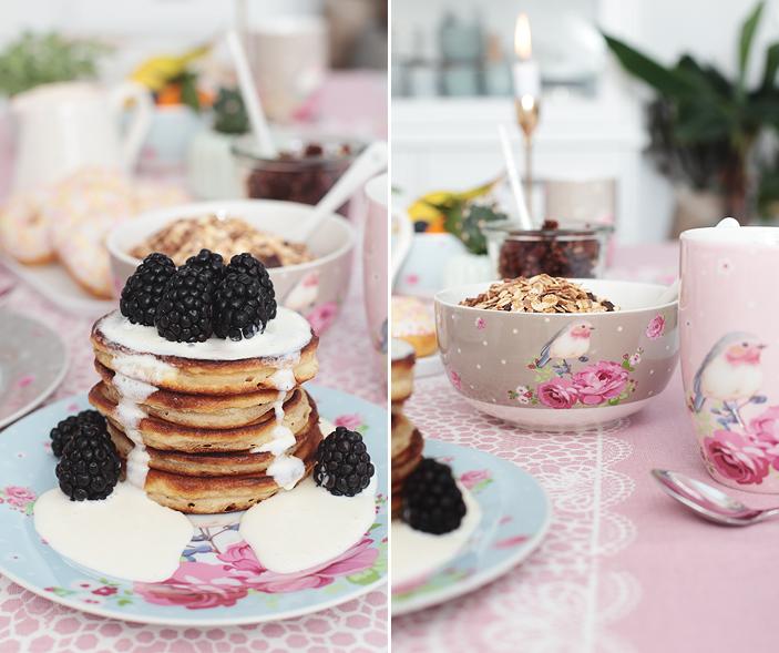 Süßes Frühstück, Frühstück, Granola, Pancakes, myhome, Deko, Tischgedeck, Sommerfrühstück, breakfast, Backen, DIY