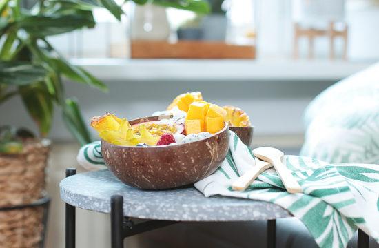 Bowl, Bowls, Tropical, Exotisch, Früchte, Fruchtbowl, Obstsalat, exotischer Obstsalat, Michreis, Kokosmilchreis