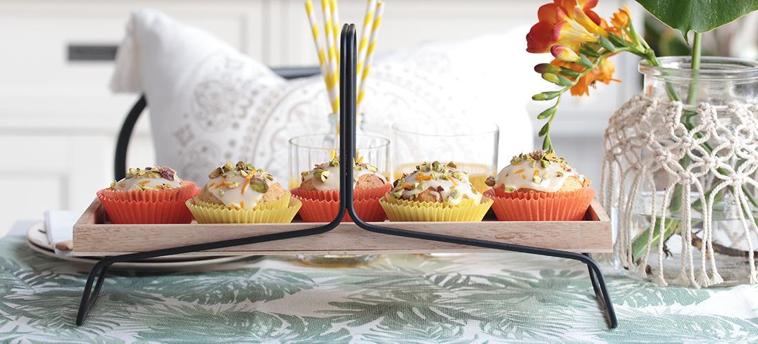 Orangen, Backen, Kuchen, Orangenkuchen, Organgenmuffins, Pistazien, Rezeptidee, Orientalisch, Orientalischer Kuchen, Deko, Makramee